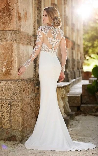 Lace Illusion Sheath Wedding Dress | Martina Liana Wedding ...