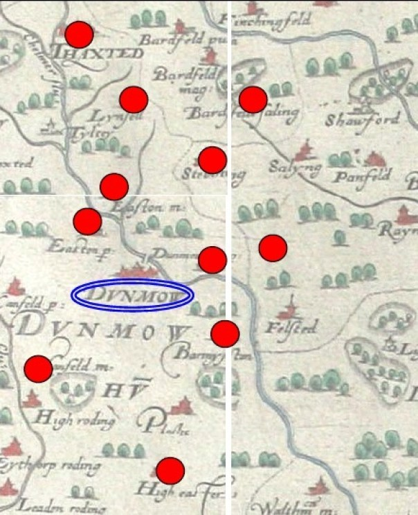 Villages documented as attending Great Dunmow's 1539-41 Corpus Christi play