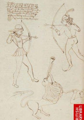 Two archers drawing their bows and a man stabbing a lion, De caelo, De anima (England, 1487)