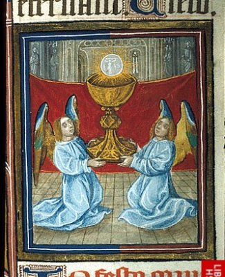 Detail of a miniature of Detail of a miniature of Corpus Christi, with two kneeling angels holding a chalice with the host above.