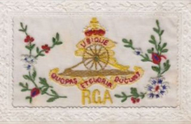 Silk postcard - Royal Garrison Artillery
