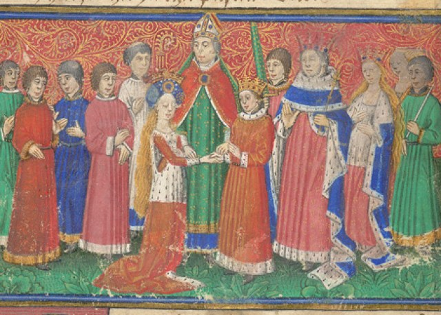 Harley 326   f. 9   Marriage of king Alfour and princess Sybil