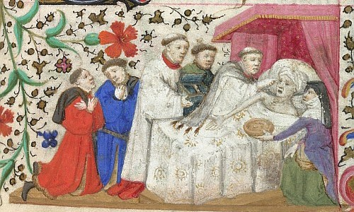 Yates Thompson 3 f.211 Priest administering last rites