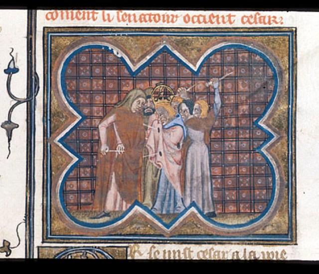 Royal 16 G VIII f.389 Murder of Caesar