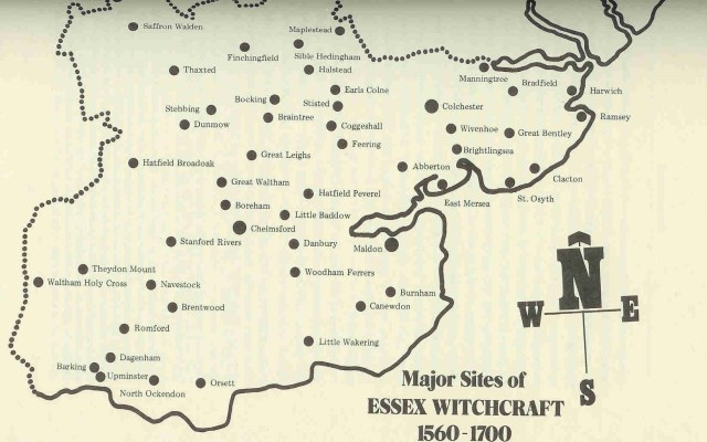 Map of Essex witches by Peter Haining