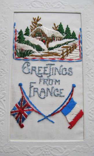 Postcards from the Front: Britain 1914-1919 - silk postcard with French and British flags