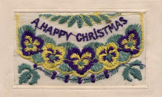 Postcards from the Front: Britain 1914-1919 - silk postcard with Christmas greetings