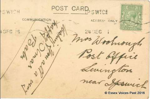 Clara Woolnough's postcard home to her mother. It was sent to her mother on Christmas Eve 1915 and proves that she herself was in the photograph.