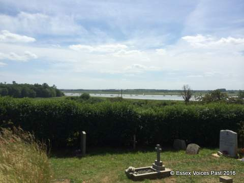The River Orwell from the churchyard of Levington's parish church