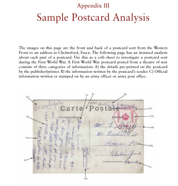Page from the extensive appendices on how to analyse a postcard from the First World War