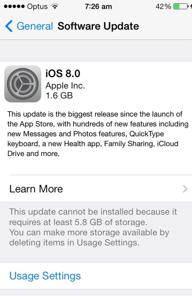 install size apple