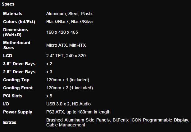 BitFenix Pandora Specifications