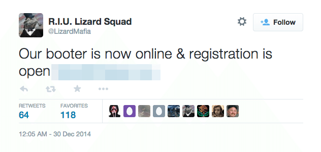 lizard squad ddos tweet