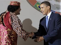 Gaddafi with US President Obama