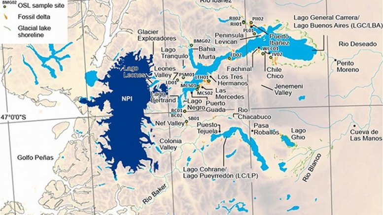 Map showing location of Lago General Carrera / Lago Buenos Aires and the large icefield to the west. Research indicates that upon the collapse of the ice dam, vast quantities of fresh water would have flowed along Rio Baker into Golfo Peñas and into the Pacific Ocean, causing changes in circulation and sea temperatures. Credit: Nature Scientific Reports/Neil F. Glasser/Krister N. Jansson/Geoffrey A. T. Duller/Joy Singarayer/Max Holloway/Stephan Harrison