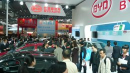 The BYD stand at the 2009 Central China High-Tech fair. Photo by Brücke-Osteuropa, Wikipedia Commons.