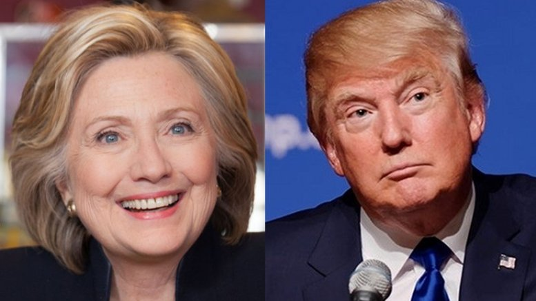 Hillary Clinton and Donald Trump. Photos Wikipedia Commons.
