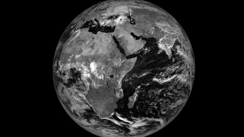 An image from Meteosat-8 at its new location of 41.5 degrees East