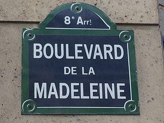 je recherche des informations sur le boulevard de la Madeleine à Paris.