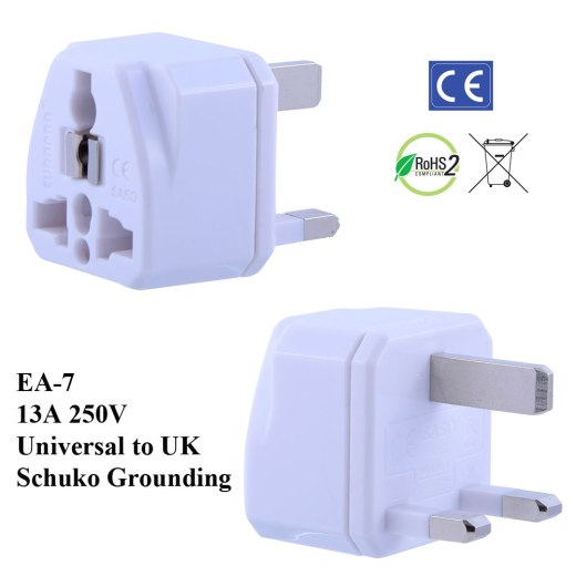 EA-7_White, UK Plug Adapter with Schuko Ground