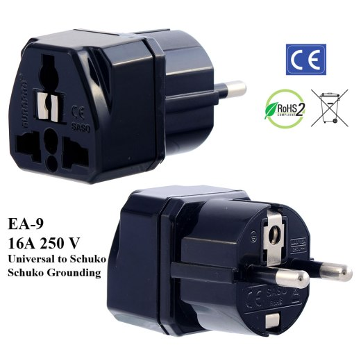 EA-9_Black, Germany France Plug Adapter with Schuko Ground