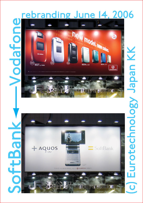 SoftBank acquired Vodafone-Japan and rebranded to SoftBank mobile on June 14, 2006