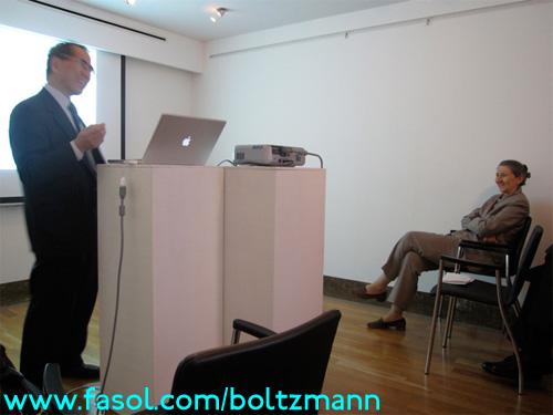 Hisashi Kobayashi at the Ludwig Boltzmann Symposium - the Ambassador of Austria listens