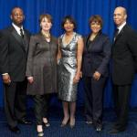 UNCF President Michael L. Lomax (far right) presented top honors to Merck &amp; Co. Scientist Donnie Eddins, Benny Andrews Foundation head Nene Humphrey, JPMorgan Chase executive Thelma Ferguson and Johnson Publishing CEO Linda Johnson during UNCF&#039;s 66th Anniversary Dinner