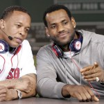 Cleveland Cavaliers James and recording artist Dr. Dre attend MLB&#039;s 2010 season opener to watch the New York Yankees take on the Boston Red Sox in their American League baseball game in Boston