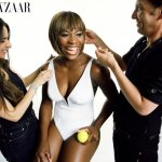 Serena Williams gets the finishing touches for her swimwear shot in Harper's Bazaar