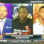 ESPN's Michael Wilbon (left) interviews Dwyane Wade (middle) and Chris Bosh about signing with the Miami Heat - July 7, 2010