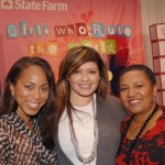 "From left to right: Marjorie Harvey, Perri ""Pebbles"" Reid, and and State Farm Executive Pam El"