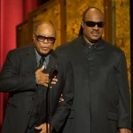 Quincy Jones and Stevie Wonder speak on stage