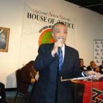 Rev. Al Sharpton addresses guests at National Action Network's New York City Martin Luther King, Jr. celebration at NAN's headquarters in Harlem, New York which was broadcast live on WBLS-FM radio