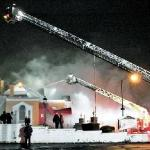 United Memorial & Moss Funeral Home on fire Saturday, January 1, 2011.