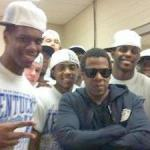 Jay-Z celebrates in locker room with Kentucky after win over North Carolina Sunday.