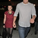 Kim Kardashian and boyfriend Kris Humphries are pictured leaving BOA steakhouse in Los Angeles, CA. (May 20, 2011)