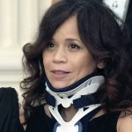 Actress Rosie Perez, in a wheelchair and neck brace in July 2010 during a visit to the White House.