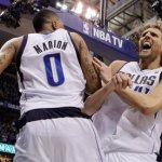 Shawn Marion & Dirk Nowitzki celebrate winning the NBA Western Conference title.