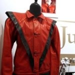 In this photo taken May 26, 2011, a worn and signed 'Thriller' Jacket that belonged to Michael Jackson is shown at Julien's Auctions, in Beverly Hills