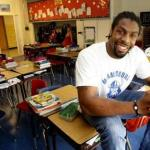 Denver Broncos Safety David Bruton takes his skills to the classroom during lockout.