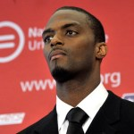 Former NFL wide receiver Plaxico Burress attends a press conference at National Urban League on June 13, 2011 in New York City.