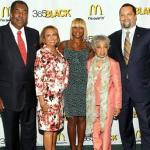 "(L to R) 2011 McDonald's 365Black Awards Honorees; civil rights ""Freedom Rider"" and McDonald's owner/operator Henry ""Hank"" Thomas, Radio One network founder Cathy Hughes, multi-platinum recording artist Mary J. Blige, legendary Broadway actress Ruby Dee and NAACP's president & CEO Benjamin Jealous, pose for photos on red carpet."