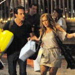 "Jennifer Lopez and Rodrigo Santoro film a night scene for ""What to Expect When You're Expecting."" In this scene Lopez' character appears to be distressed as she stumbles to an awaiting cab. (July 29, 2011)"