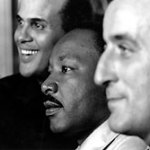 (L-R) Harry Belafonte, Dr. Martin Luther King, Tony Bennett