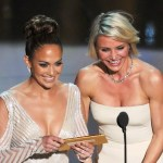Presenters Jennifer Lopez (L) and Cameron Diaz speak onstage during the 84th Annual Academy Awards held at the Hollywood & Highland Center on Feb. 26, 2012 in Hollywood