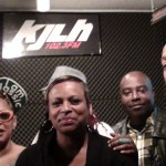 (L to R) Los Angeles underground hip-hop Queen Medusa, Yo-Yo, Above the Law's Big Hutch and DJ Quik at Los Angeles radio station KJLH-FM.