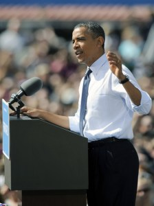 President Barack Obama speaks during a campaign event September 13, 2012 in Golden, Colorado.