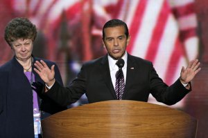 Los Angeles Mayor and Democratic Convention Chairman Antonio Villaraigosa calls for a vote to amend the platform at the Democratic National Convention in Charlotte, N.C.