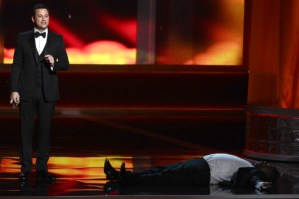 Host Jimmy Kimmel (L) and actor Tracy Morgan onstage during the 64th Annual Primetime Emmy Awards at Nokia Theatre L.A. Live on September 23, 2012 in Los Angeles, California.